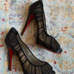 Christian Louboutin black pleated peep toe heels